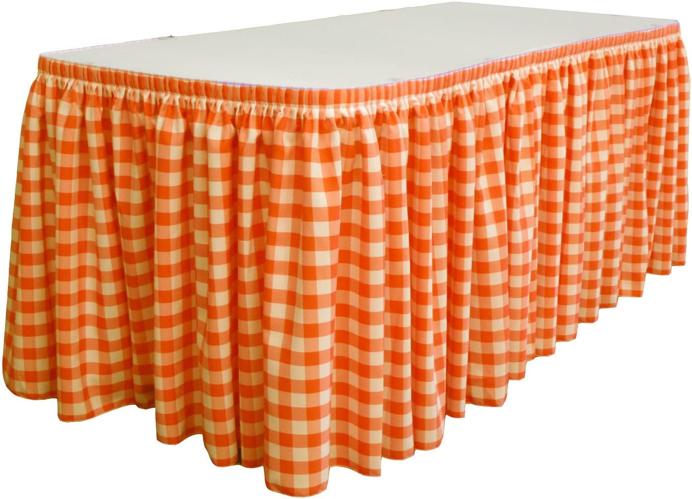 LA Linen Oversized Checkered Gorgeous Table Skirt with Latest item 30' 15 x L-Clips