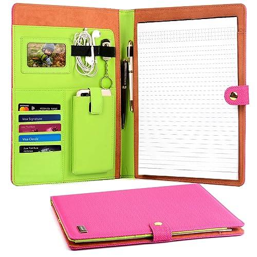 CORNMI Business Portfolio, Resume Portfolio, PU Premium Leather Pink Padfolio with Business Card Holder, Phone Pocket,iPad Pocket for Business, Interview, Resume