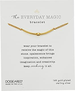 Dogeared Womens The Everyday Magic Bracelet, Opalescence Gem Bar On Chain