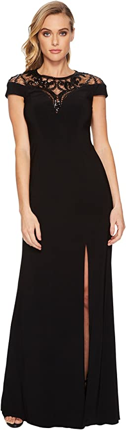 Cap Sleeve Stretch Crepe Gown with Mock Neck and Beaded Illusion Detail