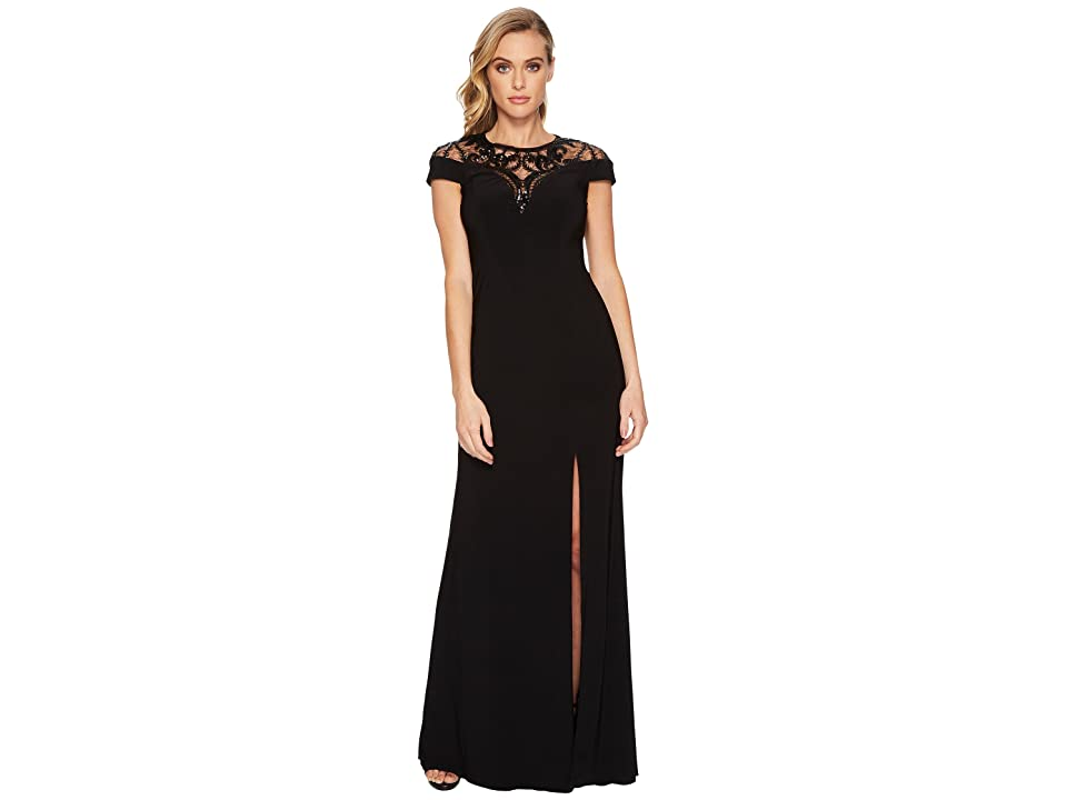 Adrianna Papell Cap Sleeve Stretch Crepe Gown with Mock Neck and Beaded Illusion Detail (Black) Women