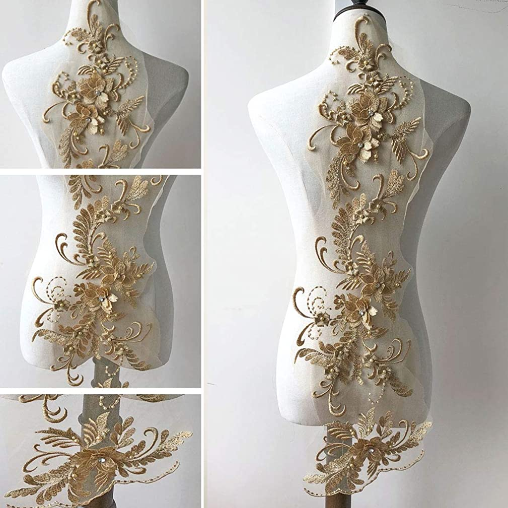 3D Beaded Flower Embroidery Lace Patch Applique Crystal Sewing Lace Motif for Dance Costumes Ballgown Gold Color