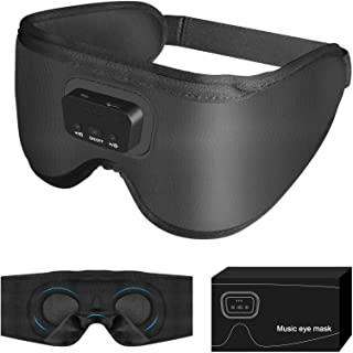 Sleep Headphones Eye Mask Built-in 20 No-looping White Noise(Not Bluetooth), Sound Therapy Music Eye Mask for Sleeping Off...