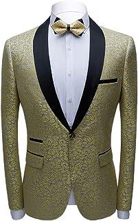 Men's Fashion Pattern Blazer Shawl Lapel Tuxedos Jacket Slim Fit Prom Party Coat Performence Coat Casual Jacket