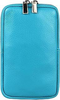 OBC Made in Italy Damen Leder Smartphone Tasche Umhängetasche Schultertasche Handytasche Minibag Geldtasche Ledertasche Cr...