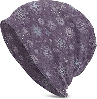 Men & Women's Adult Unisex Eggplant Christmas Inspired Cute Flowers Snowflakes and Swirls Knit Hats