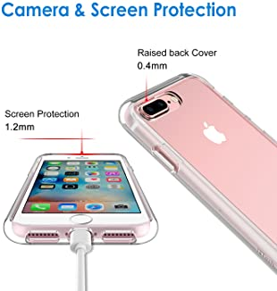 JETech Case for Apple iPhone 8 Plus and iPhone 7 Plus 5.5-Inch, Shock-Absorption Bumper Cover, Anti-Scratch Clear Bac...