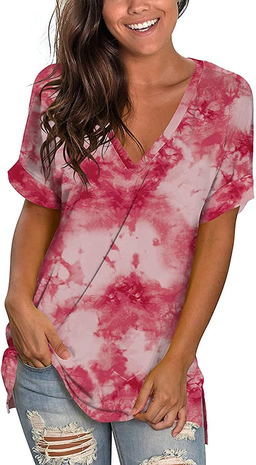 SHOPESSA Women's Summer Blouses and Limited price Tops Short outlet Dye Sleeve Tie To