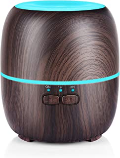 URPOWER Essential Oil Diffuser, 230ml Diffusers for Essential Oils Super Quiet Wood Grain Aromatherapy Oil Diffuser Essential Oils with Adjustable Mist Mode, 7 Color LED Lights for Home Yoga Office