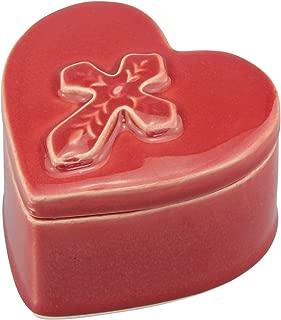 Stonebriar Accents of Faith Red Ceramic Heart Shaped Cross Trinket Box