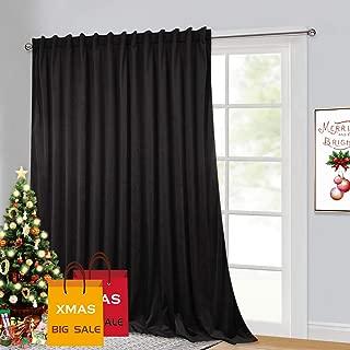 Black Velvet Curtains 100 inch Wide - Sliding Glass Door Heavy Duty Blackout Curtains, Sunlight Block Insulated Large Window Decor Drapes for Bedroom Office Basement Studio Backdrop, 100 x 84, 1 Pc