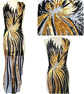 African Sequins Long Lace Fabric Embroidered Nigerian Lace Up Fabrics Superior Quality French Tulle Lace Fabric for Women (Black and Gold, 1 Piece(30x130cm))