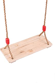 HAPPY PIE PLAY&ADVENTURE Children Wooden Hanging Swings Seat with 78'' Adjustable Pp Rope Per Side (4pc Hardwood)
