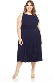 Maggy London womens Women's Crepe Smocked Pleated Sun Dress Cocktail Dress