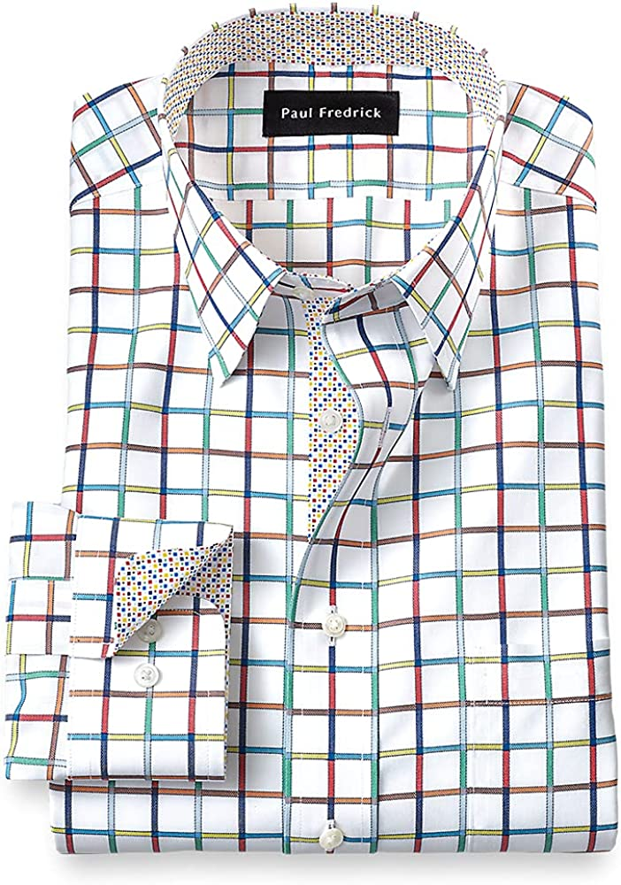 Paul Fredrick Men's Tailred Fit Non-Iron Cotton Windowpane Dress Shirt