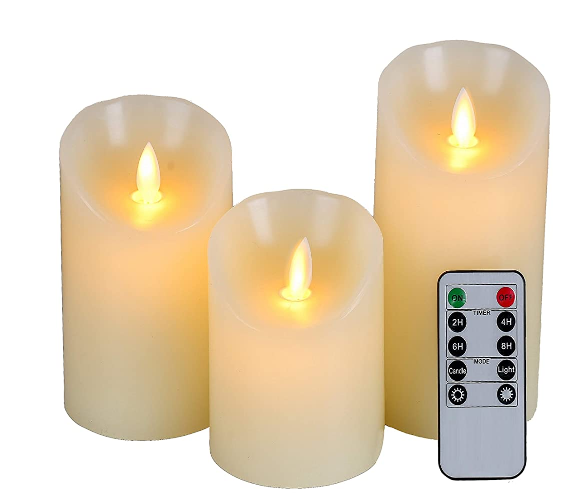 Homelife Flameless Candles Battery Operated Pillar Real Wax Flickering Moving Flame Electric LED Candle Sets with Remote Control Cycling 24 Hours Timer, 4