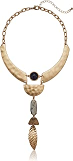 Danielle Nicole Women's Prowess Statement Y Shaped Necklace, Worn Gold/Blue, One Size