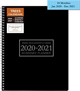Academic Planner 2020-2021 Weekly 9 by 11 Inches Time Management Hard PVC Cover with Wire Spiral Bound