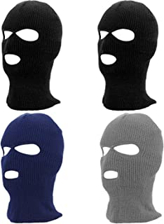 Camlinbo 4 Pcs 3 Hole Full Face Ski Mask Beanie Double Thermal Knitted Ski Face Mask Men Women Winter Outdoor Sports