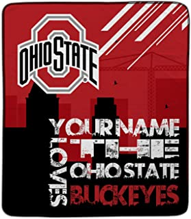 Personalized The Ohio State Buckeyes Skyline Pixel Fleece Blanket