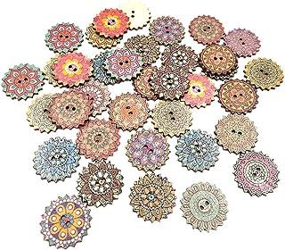 Baoblaze 100pcs Botões De Madeira De Engrenagem Sortida Botões De Flor Retrô Para Artesanato De Costura - 25mm