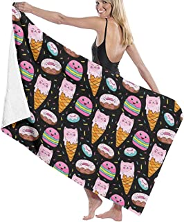 Song Shop Mall Sweets Macaroons Ice Cream Donuts Beach Towel Bath Towel Maximum Softness & Absorbency for Daily Use Outdoor Sports Travel Swim