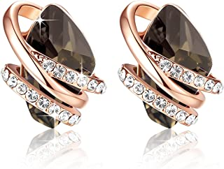 [Presented by Miss New York] Leafael Wish Stone Made with Swarovski Crystals Focal Shape Earrings, 18K Rose Gold Plated or Silver-tone Nickel/Lead/Allergy Free, Luxury Gift Box