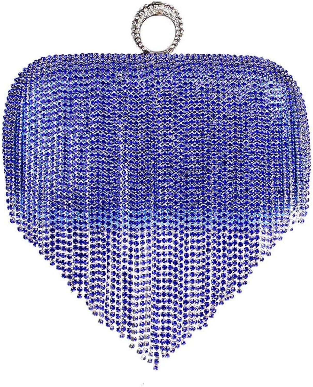 Mindruer Mindruer Mindruer Portemonnaie Damen Clutch Bag herzförmigen Quaste Diamant Kleid Abendtasche Party Prom Hochzeit Handtasche Geldbörse (Farbe   Blau, Größe   16  4.5  9.5cm) B07PK21X9W  Geeignet für Farbe 45e28d