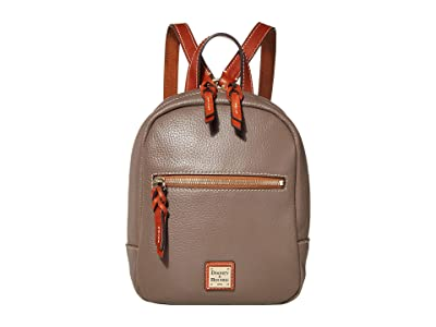 Dooney & Bourke Pebble Small Ronnie Backpack (Elephant/Tan Trim) Backpack Bags