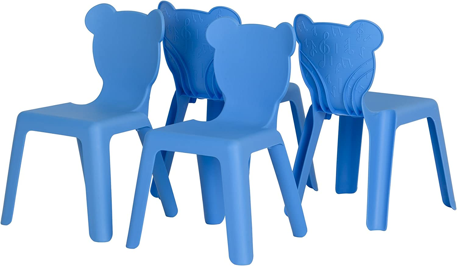 South Shore Furniture 100176 Crea Kids Plastic Stacking Chairs, 4 Pack, bluee