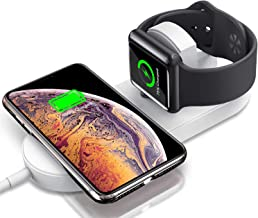 Gigastone 2-in-1 Wireless Charging Stand, Charger 10W for Android, 7.5W for iPhone and 2W for iWatch Simultaneously, Compatible with iPhone iWatch Samsung Smartphone
