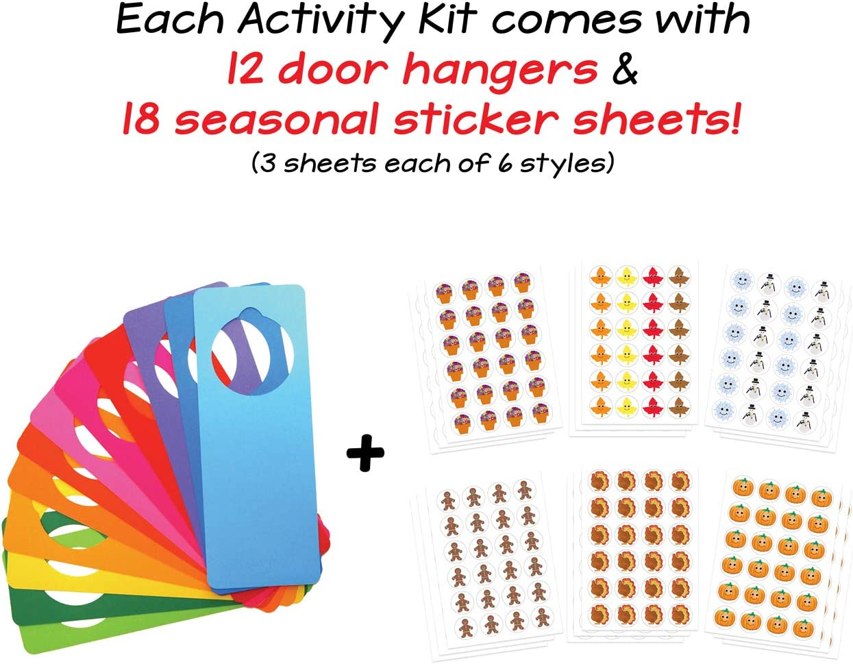 Hygloss Products Smiley Sticker Activity for Kids Make Art Younger Preschool Kit with Stickers-12 Door Hangers with 18 Sheets