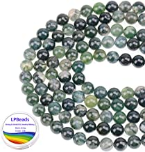 LPBeads 100PCS 8mm Natural Moss Agate Beads Gemstone Round Loose Beads for Jewelry Making with Crystal Stretch Cord