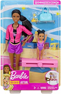 Barbie Gymnastics Coach Dolls & Playset with Brunette Coach Barbie Doll, Brunette Small Doll and Balance Beam with Sliding Mechanism, Gift for 3 to 7 Year Olds