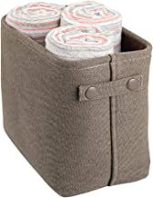 mDesign Soft Cotton Fabric Bathroom Storage Bin Basket Coated Interior Attached Handles - Organizer Closets, Cabinets, She...