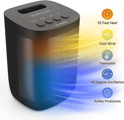 dodocool Calefactor Electrico de Aniones, Calefactor PTC, Calefactor Ventilador Ceramico Portatil,3 Modos, Protección contra Sobrecalentamiento