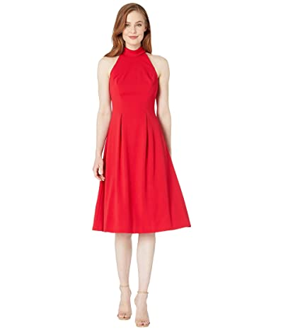 Calvin Klein Mock Halter Neck Midi Dress (Red) Women