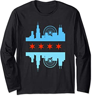 Chicago Skyline Flag Long Sleeve T-Shirt - Windy City Tee