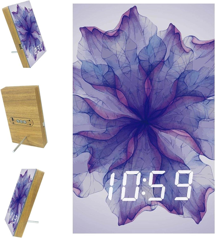 NDKMEHFOJ Watercoloor Purple Flower Industry Popular overseas No. 1 Art Tim Digital Clocks Alarm