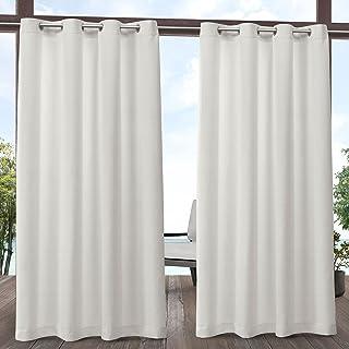 Exclusive Home Aztec Indoor/Outdoor Grommet Top Curtain Panel Pair, Vanilla, 54x108, 2 Piece