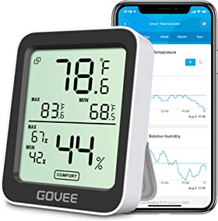 Govee Bluetooth Indoor Hygrometer Thermometer, Room Humidity and Temperature Sensor Gauge with Remote App Monitoring, Larg...