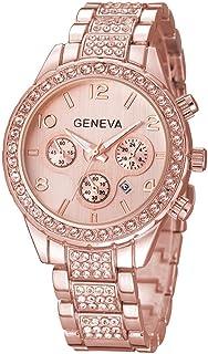 Unisex Luxury Pave Floating Crystal Diamonds Calendar Quartz Watch with Stainless Steel Link Bracelet