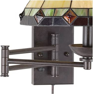 Tiffany Style Swing Arm Wall Lamp Bronze Plug-in Light Fixture Stained Glass for Bedroom Bedside Living Room Reading - Robert