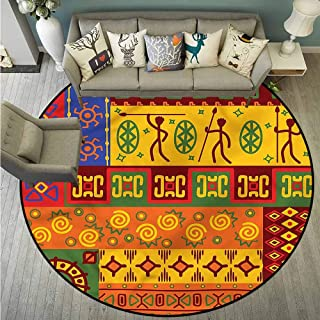 Non-Slip Round Rugs,Primitive,South American Culture,for Outdoor and Indoor,3'3