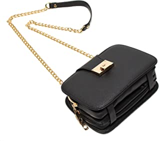 Forestfish Ladies Black PU Leather Shoulder Bag Evening Clutch Purse Crossbody Bag with Metal Chain Strap