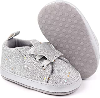 myppgg Baby Boys Girls Canvas Shoes Infant Soft Sole Sparkly Sneakers Lace Up for Toddler First Walkers