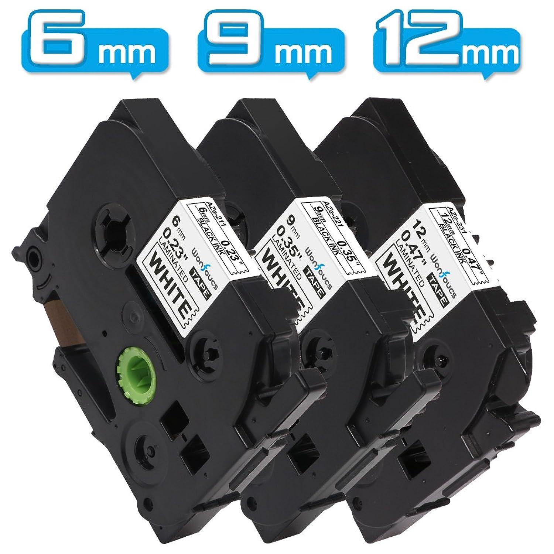 Wonfoucs ブラザー工業 ピータッチ テープ 12mm 9mm 6mm tzeテープ tze231 tze221 tze211 ラミネートテープ互換 白地黒文字 長さ8M 3種サイズ