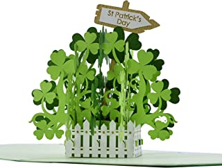 CutePopup St. Patrick's Day Green Shamrock 3D Pop-up Greeting Card- Bright Colors, Novelty Design, Subtle Laser Cut, Brilliant Choice for This St. Patrick's Day