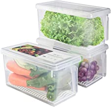 Produce Saver Refrigerator Organizer Bins for Fridge - 4.5L x 3 SILIVO FreshWorks Stackable Fridge Storage Containers with...