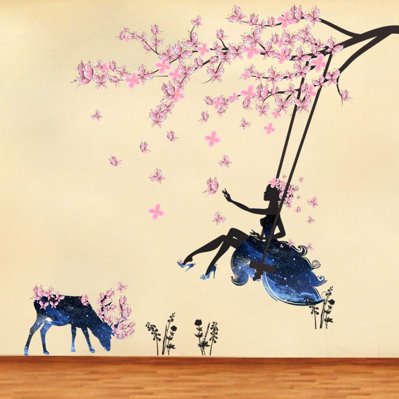 DIY Vinyl Fairy Girl on Tree Swing & Moose Silhouette Wall Sticker Removable Butterfly Flower Girl Wall Decals Flower Butterfly Girl Art Decal Home Decor